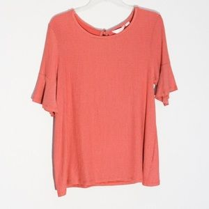 LC Lauren Conrad Ruffle Sleeve Striped Tee Large